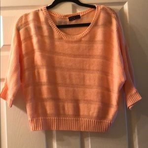 Peach Knitted Cropped Thin Sweater